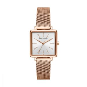 Armani Exchange Women's Lola Square Rose Gold Square Stainless Steel Watch – AX5802